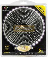 Светодиодная лента влагозащищенная 220В, 60 SMD3528/метр, цвет белый, блистер 5 метров Neon-Night