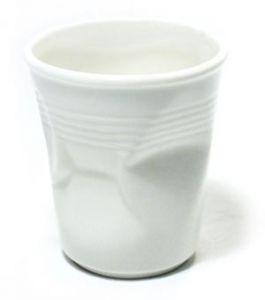 Стакан керамический мятый белый