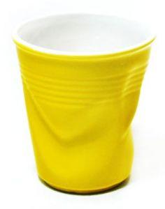 Стакан керамический мятый желтый