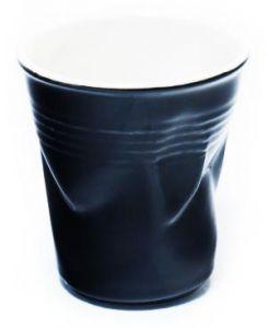 Стакан керамический мятый черный