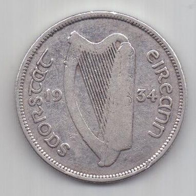 1 флорин 1934 г. редкий год. Ирландия. Великобритания