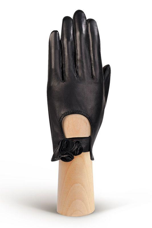 Женские перчатки с цветами из кожи ELEGANZZA