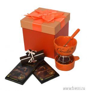 Оранжевый набор с шоколадным фондю на 1 персону