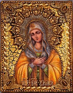 Икона Божьей Матери Умиление Серафимо-Дивеевская или Всех радостей Радость 19 х 23 см, роспись по дереву, самоцветы