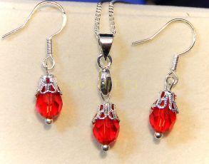 Комплект украшений с кристаллами Сваровски - серьги и подвеска с цепочкой