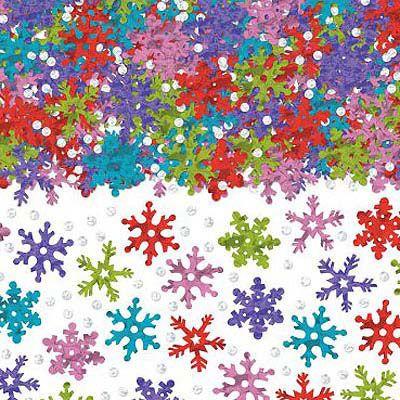 Конфетти Снежинки разноцветные, 70 гр