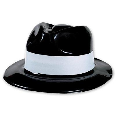 Шляпа Гангстер пластик с бел полосой