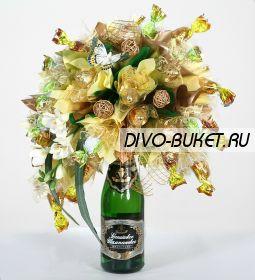 """Букет с конфетами и шампанским №508 """"Фейерверк"""""""