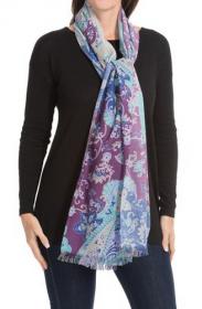 Большой тонкорунный воздушный  шотландский шарф, 100 % драгоценный кашемир , Сказочные Узоры (Пейсли Васильковый), Printed Painterly Floral, плотность 3