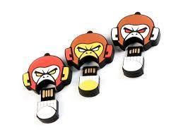 4GB USB-флэш накопитель EVIL MONKEY, злая обезьяна  бело-коричневая