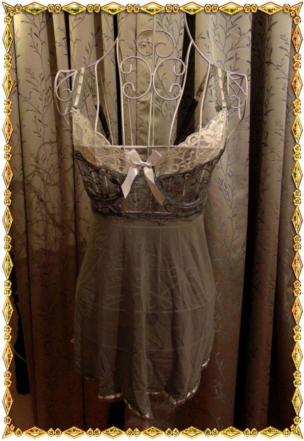 Сорочка серого цвета с кружевным лифом