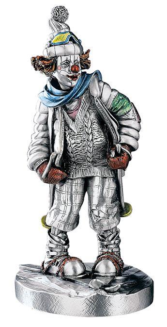 Серебряная коллекционная фигурка клоуна-лыжника (Италия)