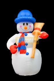 """3D фигура надувная """"Снеговик с метлой"""", размер 180 см, внутренняя подсветка 4 лампы, компрессор с адаптером 12В, IP 44 NEON-NIGHT"""