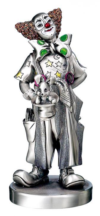 Серебряная коллекционная фигурка клоуна-фокусника (Италия)