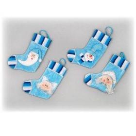 Носок для подарков, 23 см, 4 вида (дед мороз, снегурочка, снеговик, ангел)