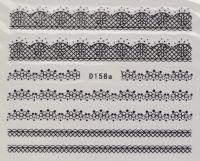 Водная наклейка для дизайна ногтей D158 черный