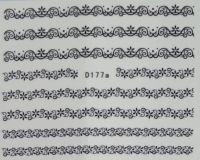 Водная наклейка для дизайна ногтей D177 черный