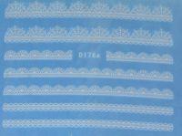 Водная наклейка для дизайна ногтей D178 белый