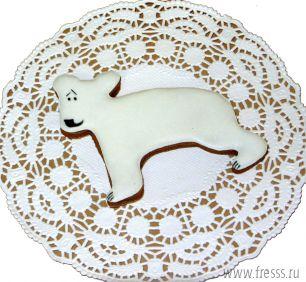 """Имбирный пряник """"Белый мишка"""""""