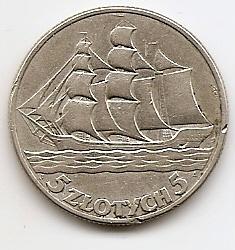 15 лет морскому порту Гдыня (Парусник) 5 злотых 1936 Польша серебро