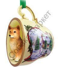 Финский шпиц новогоднее украшение-чашка «Заснеженный дворик»
