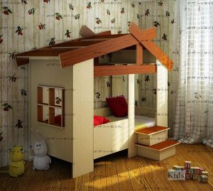 Кровать-домик Фанки Кидз 13/64 СВ (80х170) (закругленные верхние края крыши)