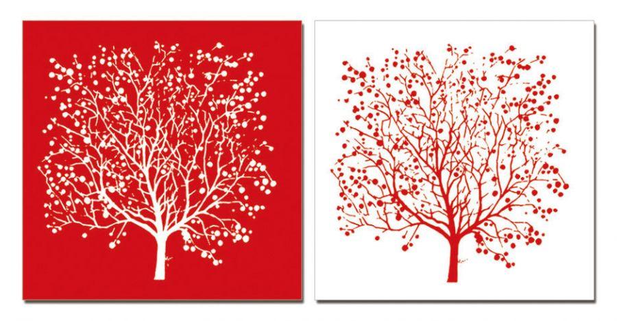 """Модульная картина """"Двойное дерево"""" красная 50x50"""