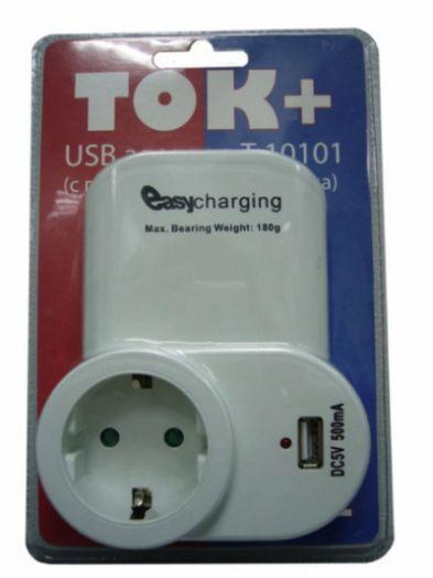 """Адаптер сетевой """"Ток+"""" на 1 гнездо + гнездо USB, 220В, 16А (Т10101)"""