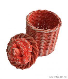 Плетеная шкатулка тубус, красный
