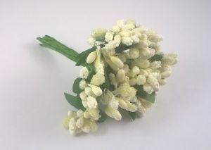 Тычинки в связках перламутровые, цвет - молочный, 1уп = 6 связок (1 связка = 11-12 букетиков)