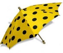 Шёлковый зонт 19'' (48 см) - жёлтый в чёрный горошек