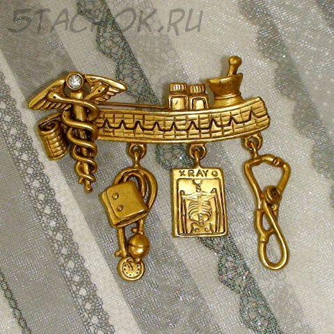 """Брошь """"Медработнику"""" под античное золото"""