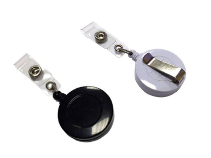 Office Kit Держатель для бейджа/пропуска с рулеткой (черный, белый)