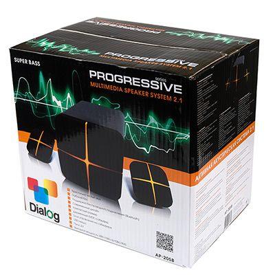 Мультимедийные колонки 2.1 Dialog Progressive AP-205B BLACK - акустические колонки 2.1, 18W+2*10W RMS, Bluetooth, USB