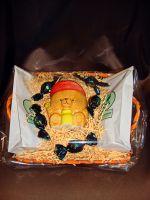 Корзинка Мишка с чаем или кофе и керам.банкой для хранения кофе, чая или меда- подарочный набор.