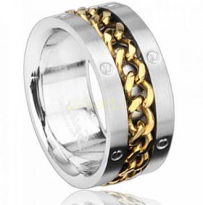 """Стальное мужское кольцо Spikes с позолоченным элементом """"Цепь"""" (арт. 280113)"""