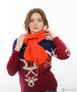 шарф 100% шерсть ягнёнка , классический  цвет Апельсин Orange  ,плотность 6