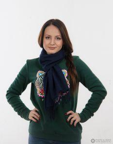 шарф 100% шерсть ягнёнка , расцветка Тёмно-синий Navy ,плотность 6