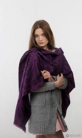 """теплый шотландский  большой шарф """"Созвездие Плеяд-Фиолетовая Плейона"""" 100% шерсть мериноса. плотность 5"""