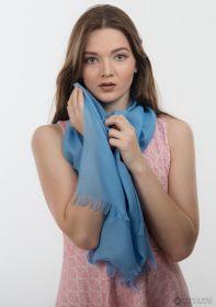 невесомый тонкорунный  палантин (большой шарф) 100% шерсть,  Нежный Небесный Light Blue. плотность 1