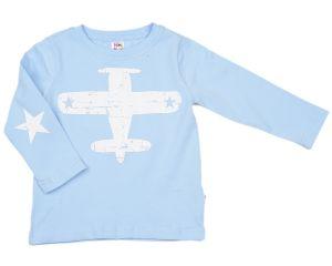 Лонгслив для мальчика голубой с самолетом от Мини Макси