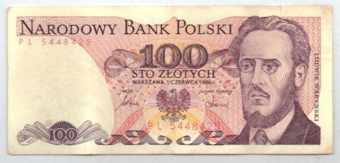 100 злотых 1986 г. AUNC. Польша