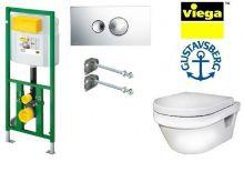 Система инсталляции Viega Eco Plus 660321 в комплекте с подвесным унитазом Gustavsberg Hygienic Flush WWS 5G84HR01 с сиденьем Soft-Close