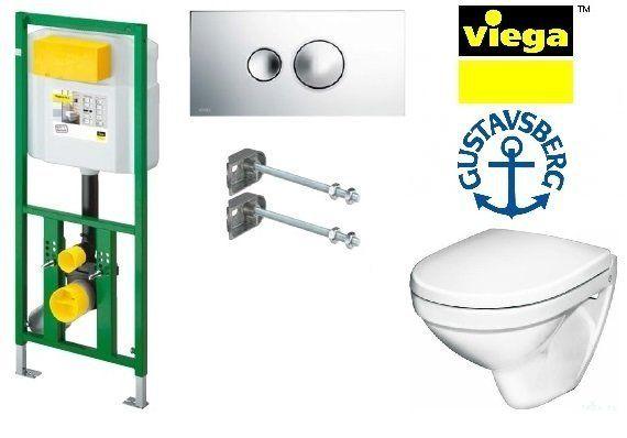 Система инсталляции Viega Eco Plus 660321 в комплекте с подвесным унитазом Gustavsberg Nautic 5530 с сиденьем Soft-Close