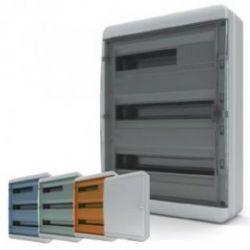 Бокс пластик. 3 ряда 54 мод. IP65 навесной (комплект 1), дверь прозр.-черная