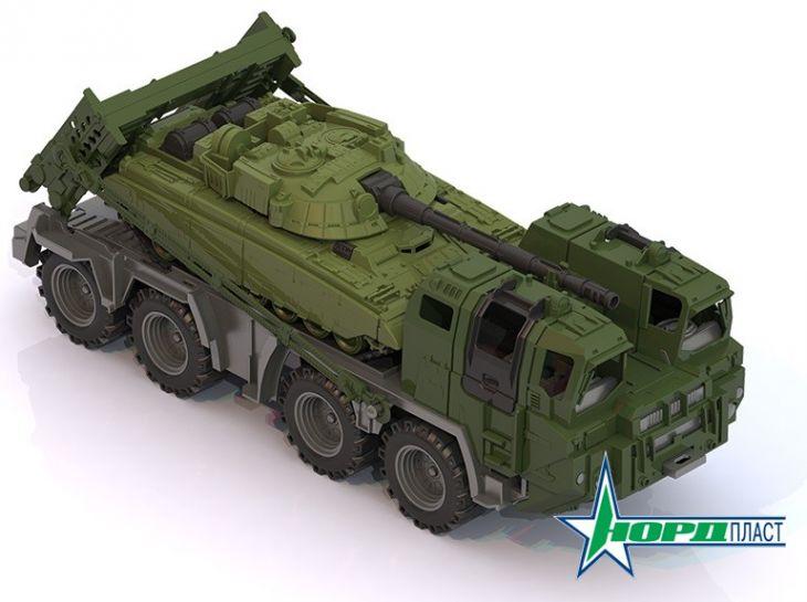 Военный тягач Щит с танком