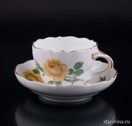 Чайная пара Желтая Роза, Meissen, Германия, вт. пол. 20 в., артикул 02159