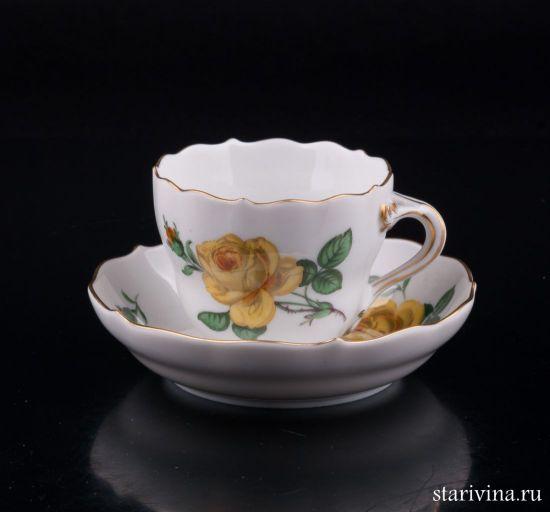 Кофейная пара Желтая Роза производства Meissen, Германия