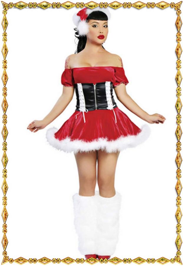 Новогоднее мини-платьице с шапкой