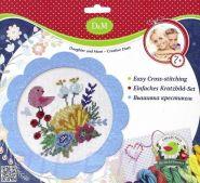 """D&M Делай с мамой. Набор для вышивания крестиком  """"Цветы и птицы"""" в голубой рамке"""